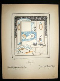 Gazette du Bon Ton 1920 Art Deco Interior Design Litho. Studio #29